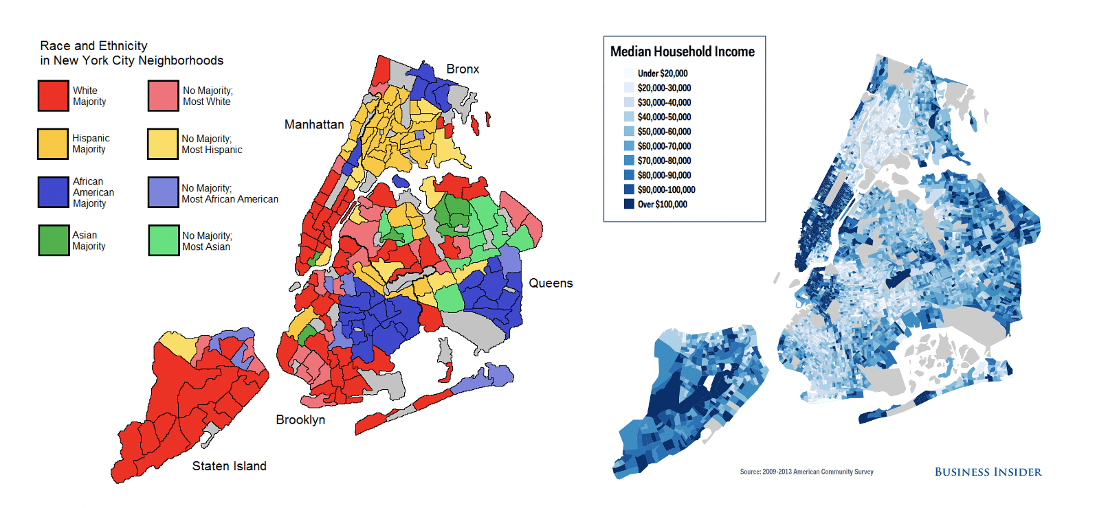 Maps illustrating race and ethnicity vs. median household income in New York City