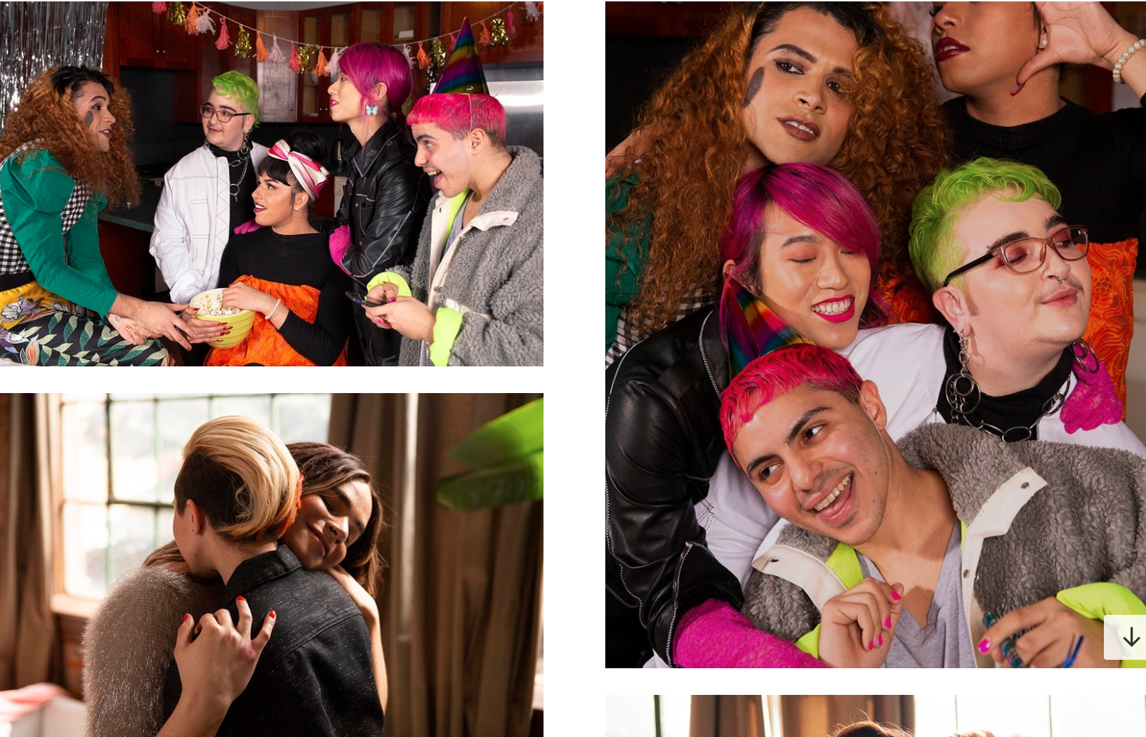 Example of stock photos from genderphotos.com of people of different genders hanging out with friends and embracing.