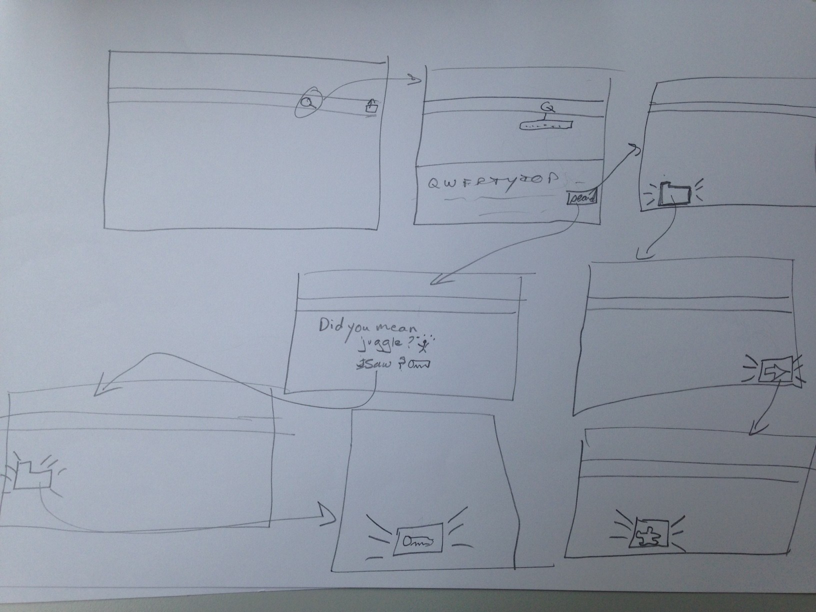 A low fidelity sketch from the workshop showing how someone might find the word jigsaw in the app.