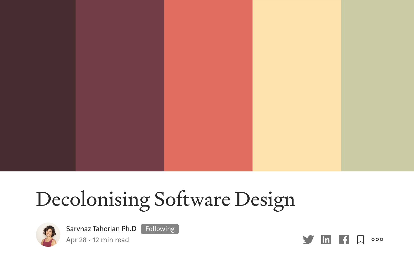 A thumbnail image of my Medium blog on Decolonising Software Design.