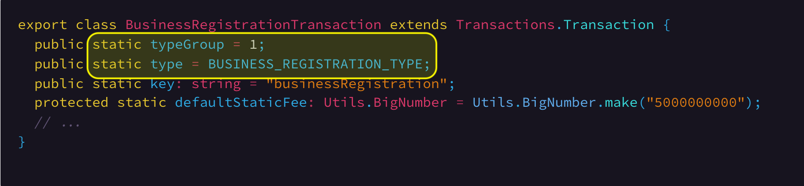 Type group and transaction type definition. Link To Source Code