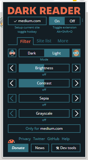 A screenshot of Dark Reader's brightness/contrast settings, allowing the user to increase or decrease said settings.