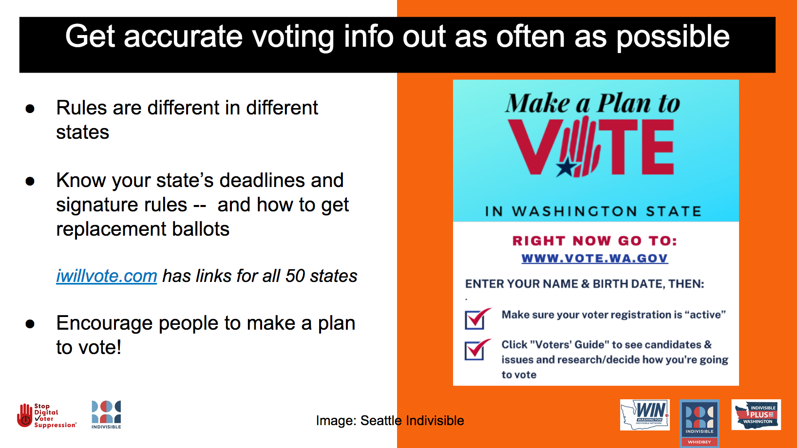 Get accurate voting info out as often as possible. Rules are different in different states. Know the info for your state!