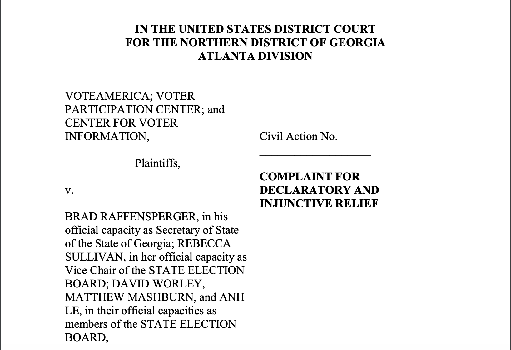 The first page of the lawsuit VoteAmerica filed against the State of Georgia.