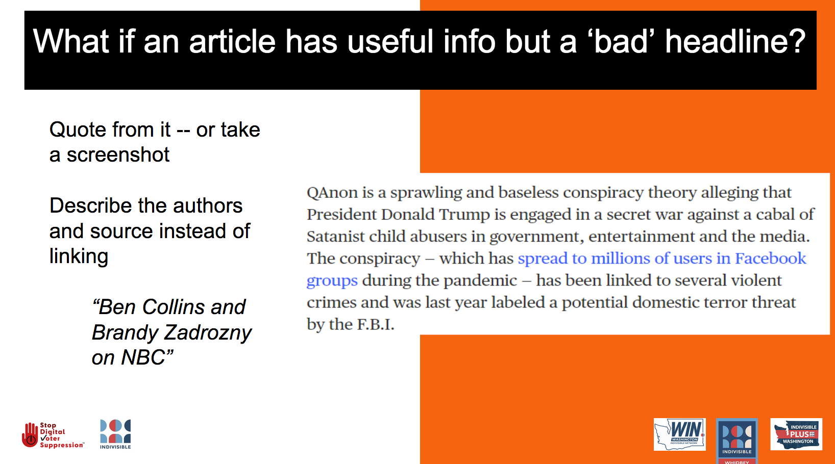 What if an article has useful info but a 'bad' headline? Quote from it—or take a screenshot. Describe it, don't link.