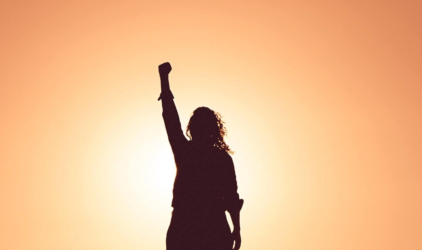Woman as shadow figure raising the fist in the air and an orange sunny background