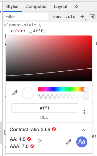 Tooltip from Chrome Dev Tools displaying styles of the element. Red icon close to Constrast ratio score.