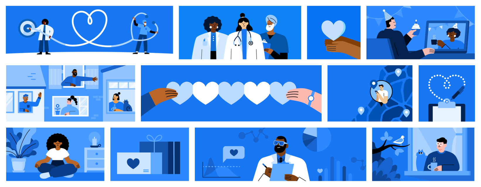 An illustration series related to the coronavirus shelter in place represents doctors, nurses and others of various abilities