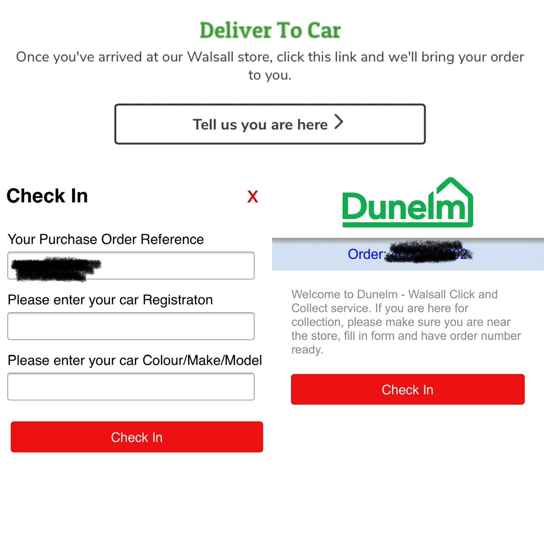 Examples of the email from Dunelm to say deliver to car along with the screens to enter registration number and car make