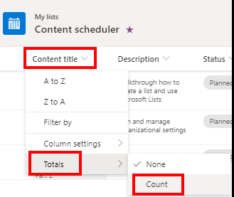 Microsoft Lists How to count items in the list