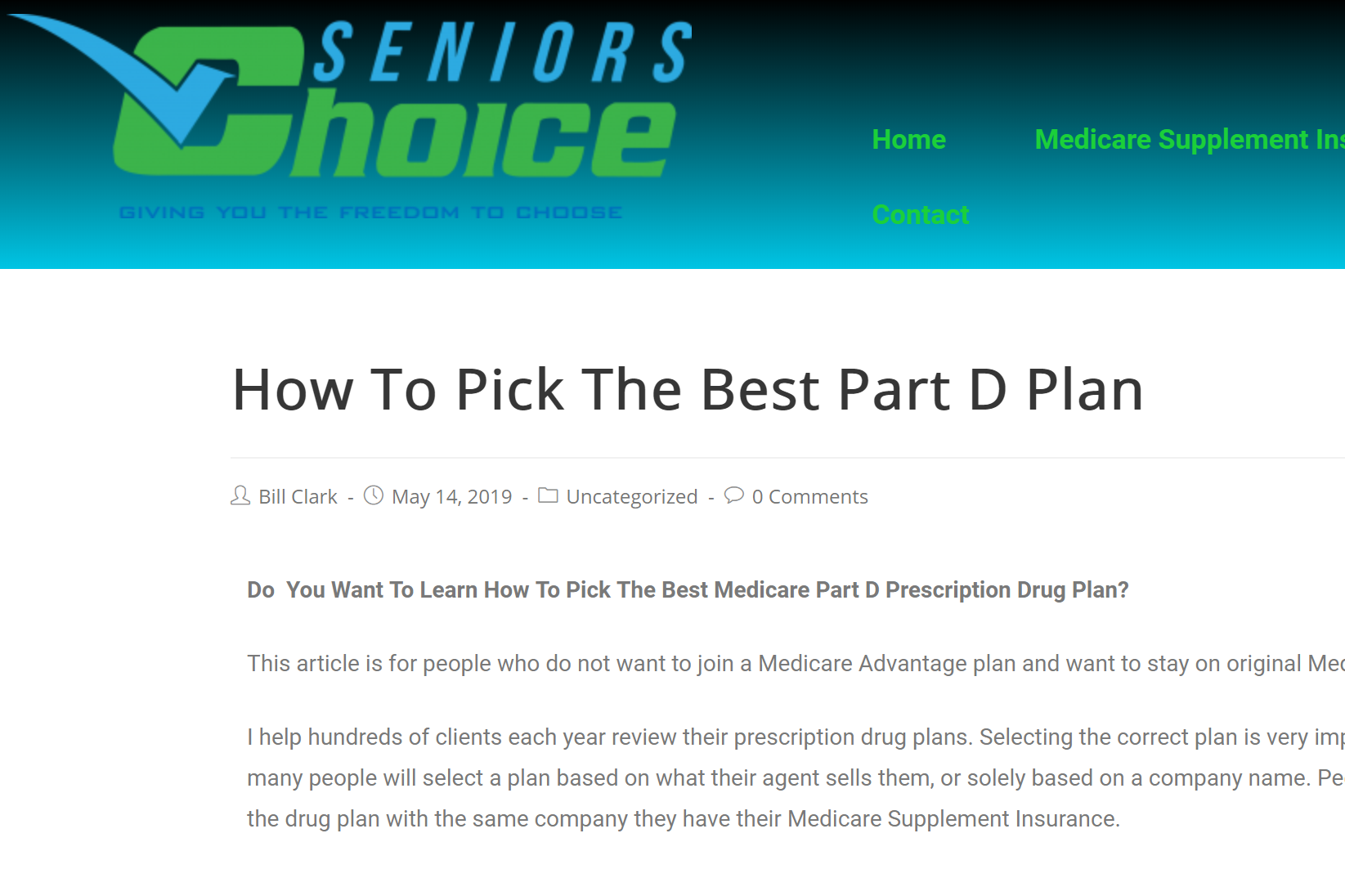 Medicare Part D >> The Best Way To Pick A Part D Medicare Plan Bill Clark