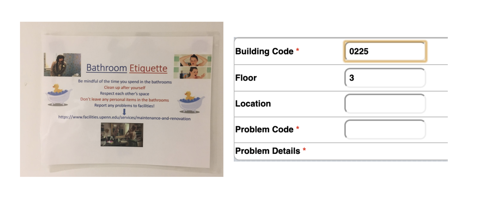 the poster in the bathroom with instructions and a link to the site to report issues side by side with the site and its codes