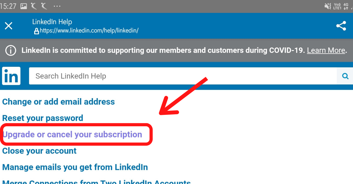 An arrow is pointing the Upgrade or cancel your subscription button in the Help Centre page