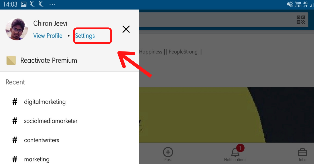 An arrow is pointing the Settings link located right to View Profile below your profile name in the application's homepage.