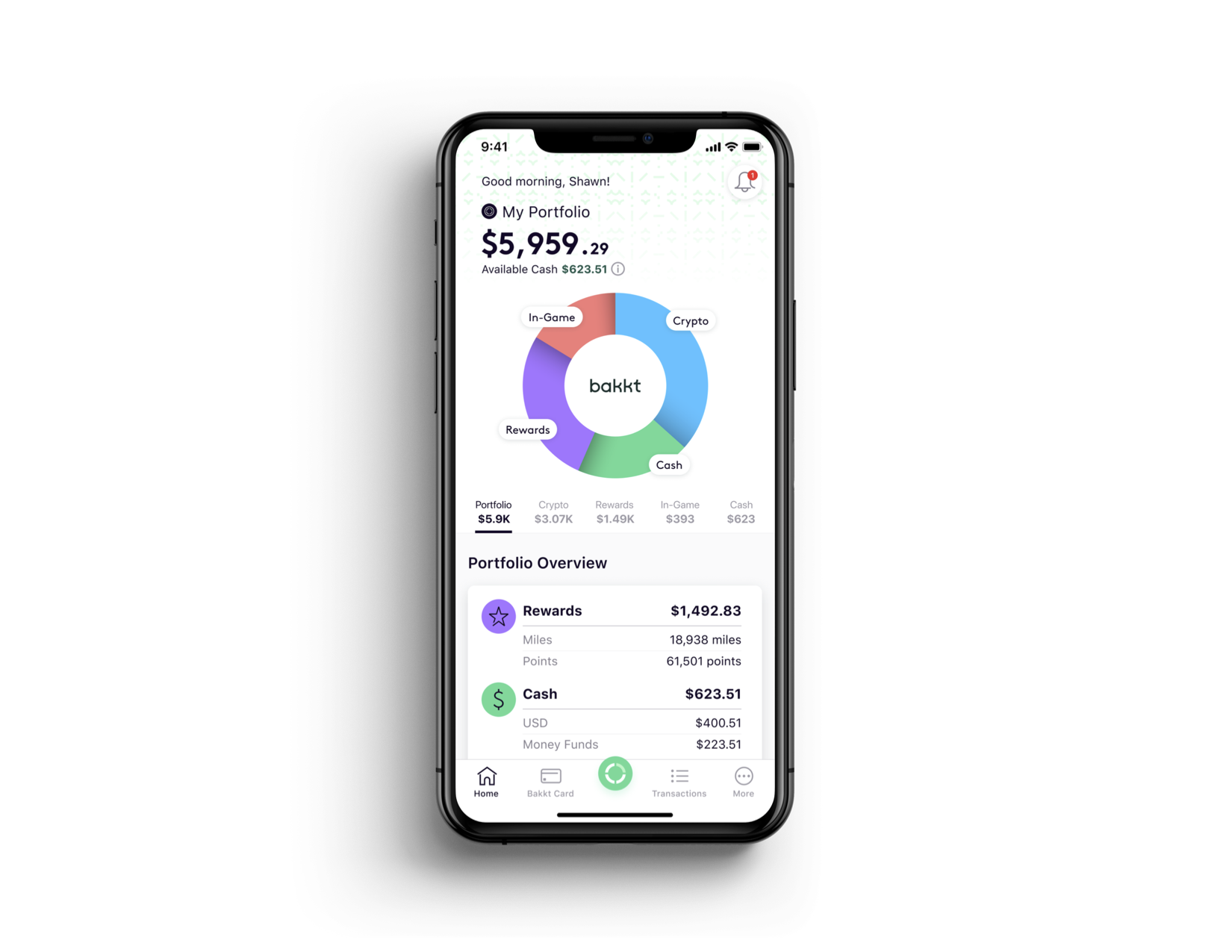 Portfolio view of the Bakkt mobile app