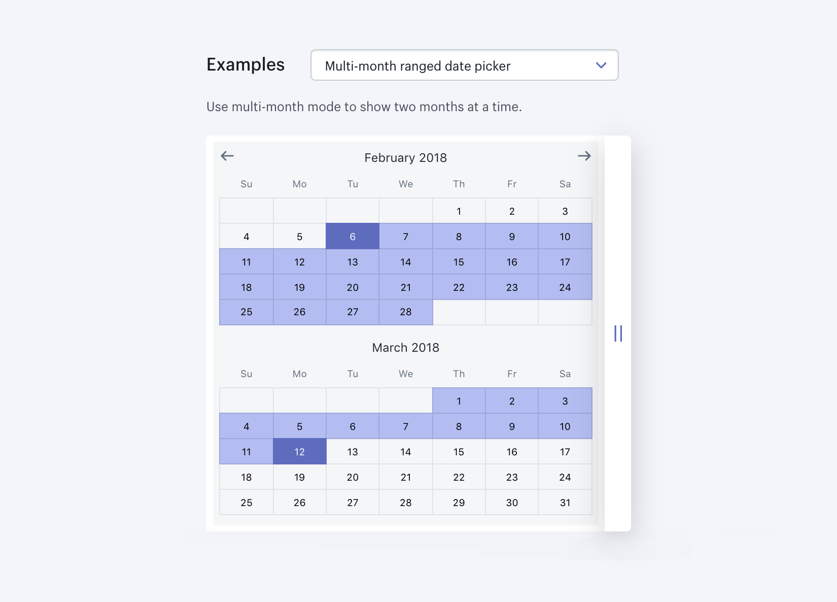 Date picker from Shopify's Design System (Polaris)