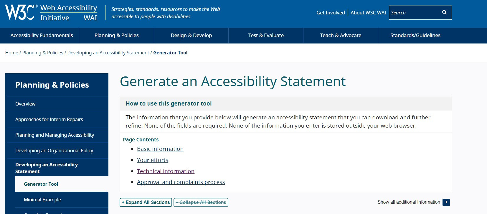 W3C accessibility statement generator screenshot from https://www.w3.org/WAI/planning/statements/generator/#create