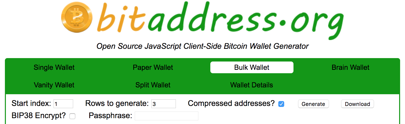 Generate and download thousands of Bitcoin wallets in a
