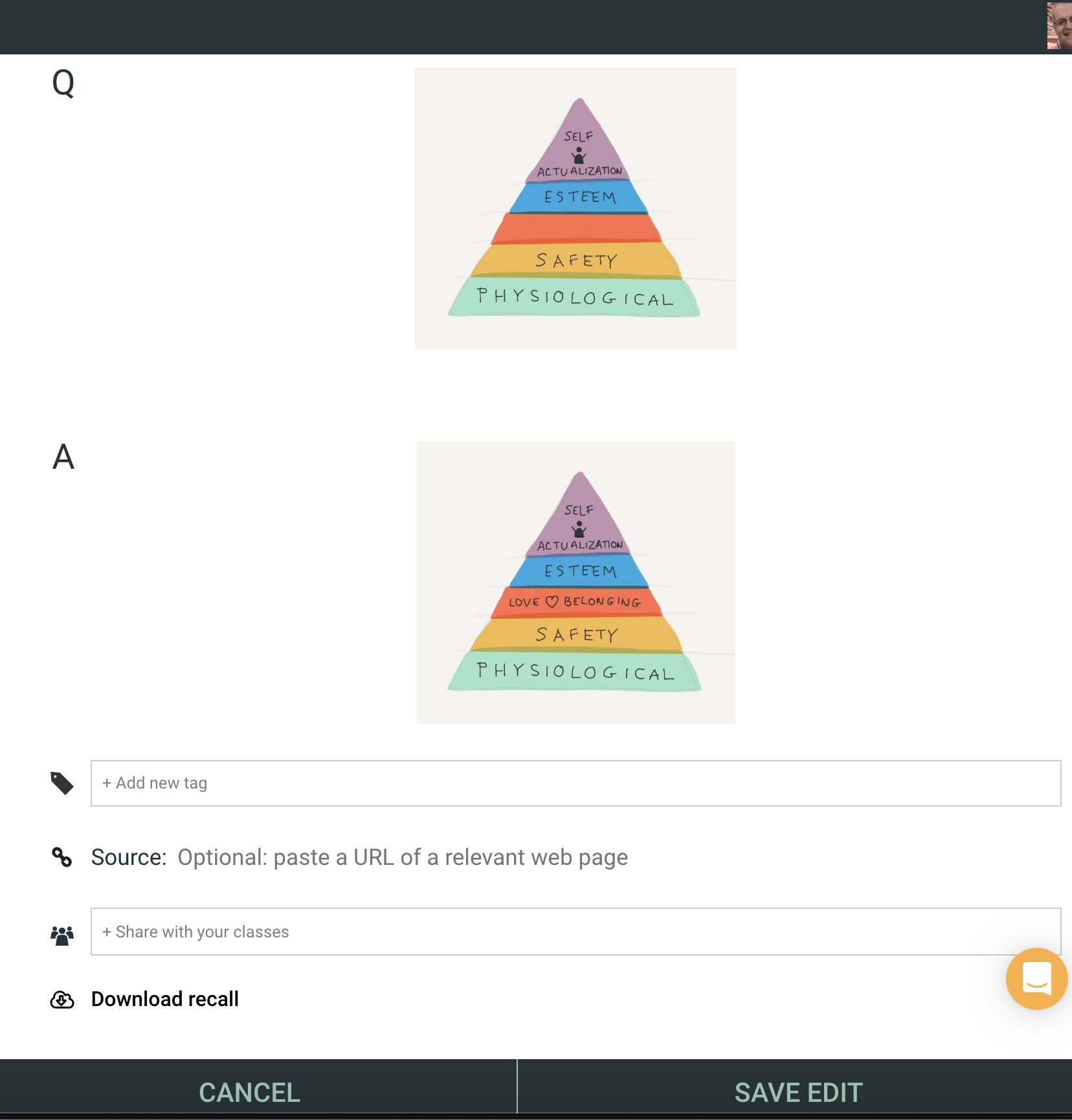 A depiction of a flashcard created at idorecall.com showing Maslow's Hierarchy of Needs Pyramid.