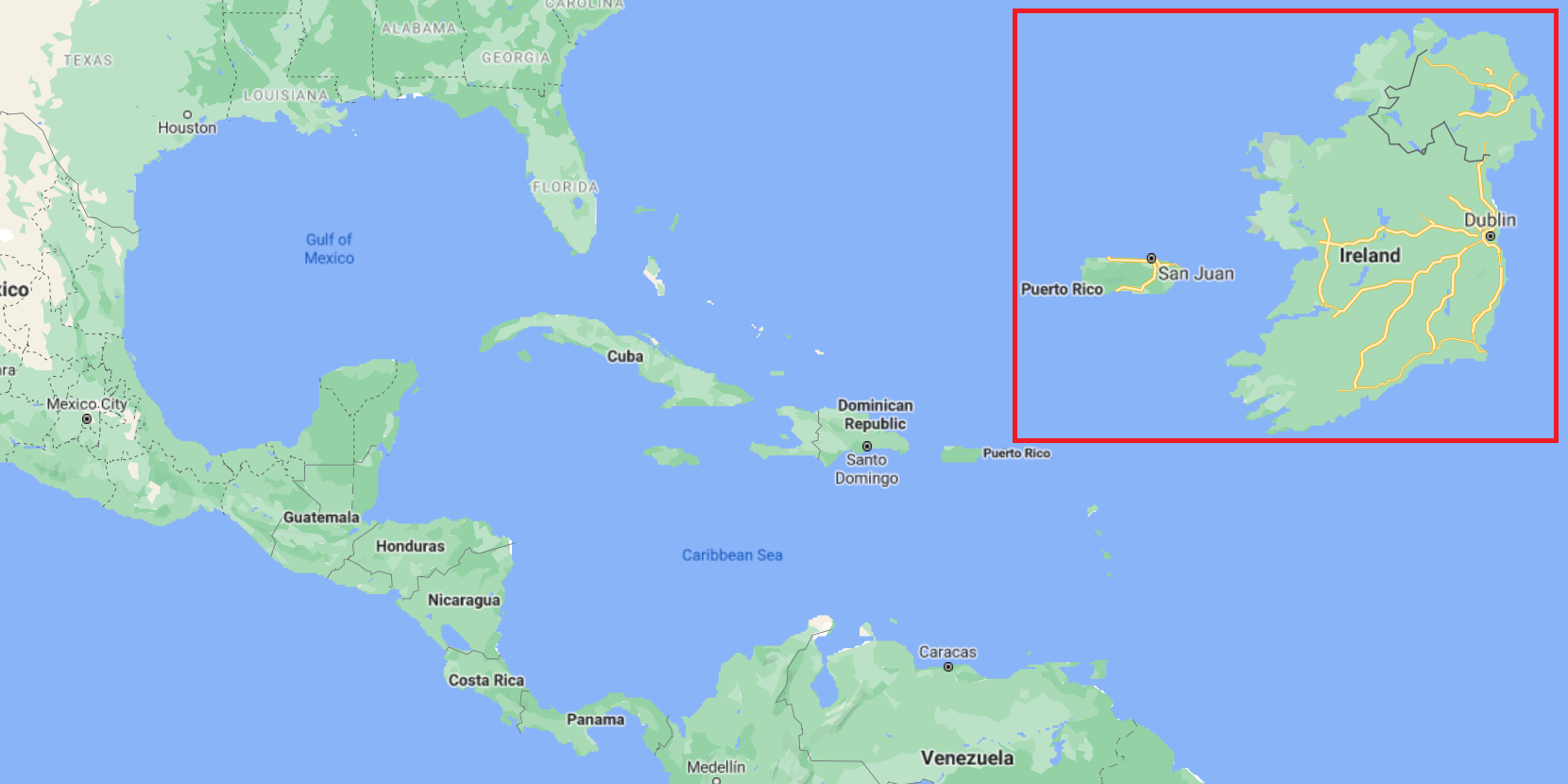 Puerto Rico: geographical location and comparison with Ireland
