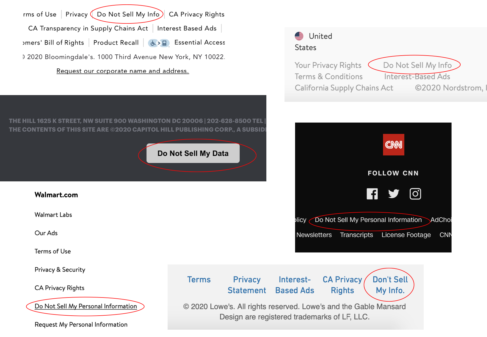 """Screenshots of six websites which have """"Do Not Sell My Info"""" buttons."""