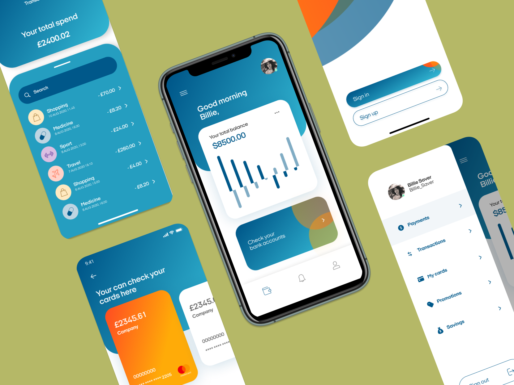 Screen shots of a financial technology app