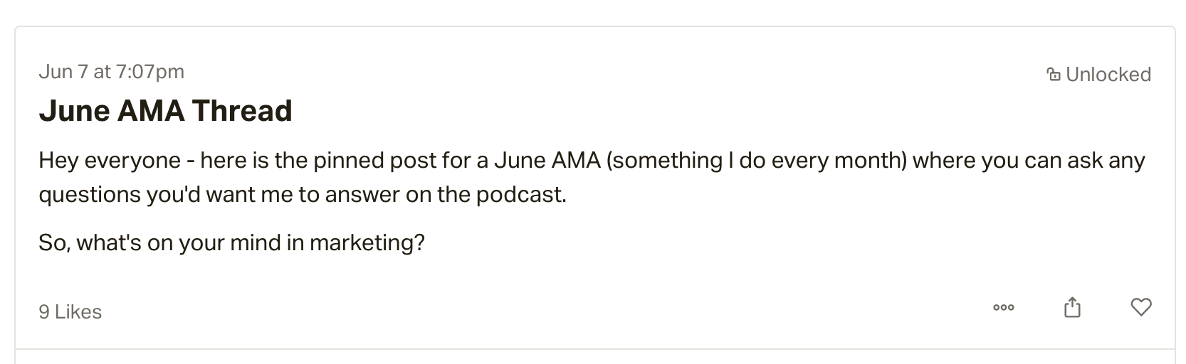 Image of Dave G's June AMA on Patreon.