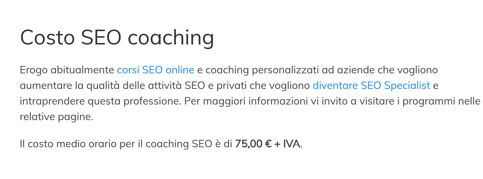 costo corso SEO avanzato e web marketing Bari