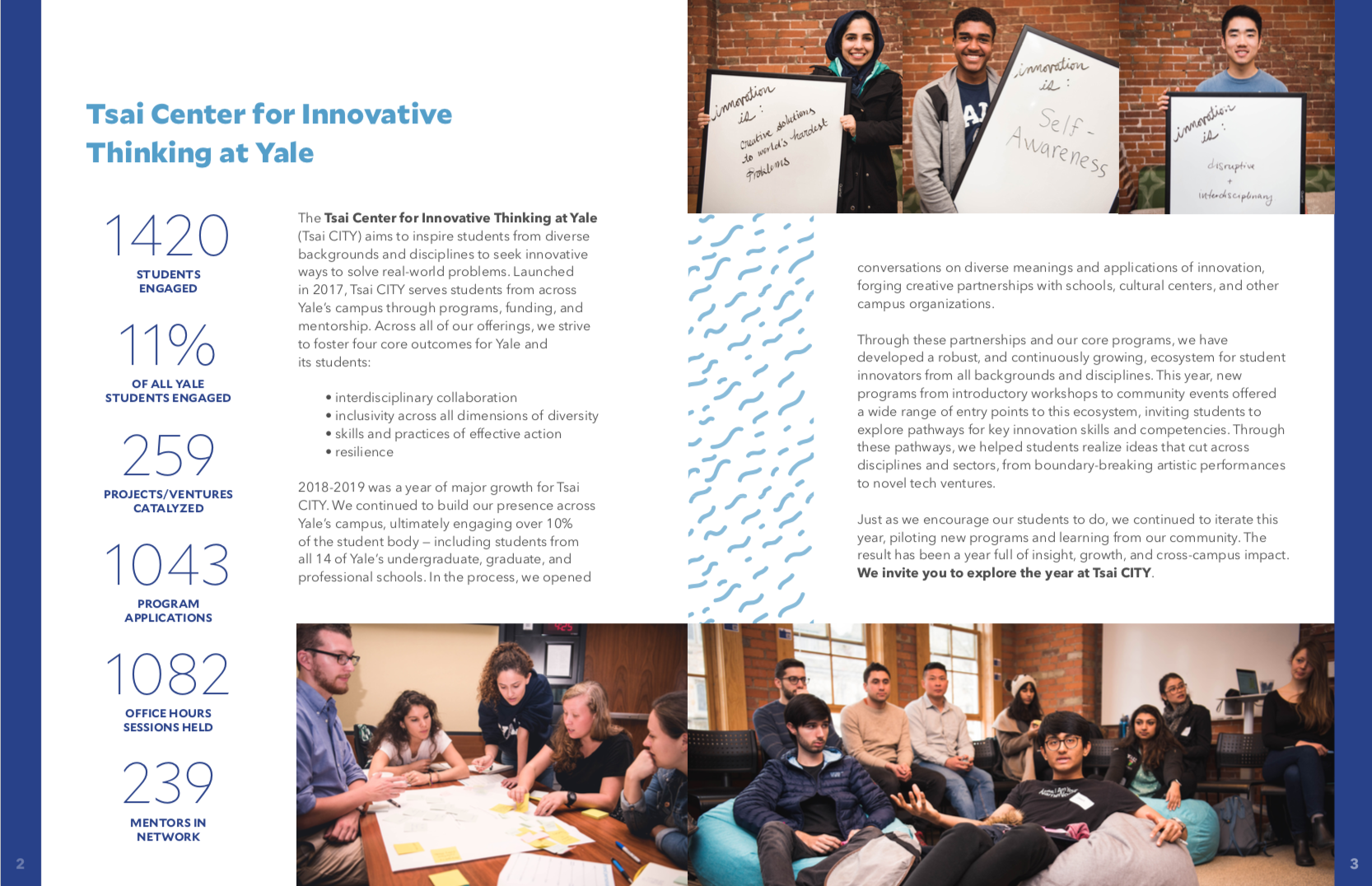 Screenshot of two pages from annual report
