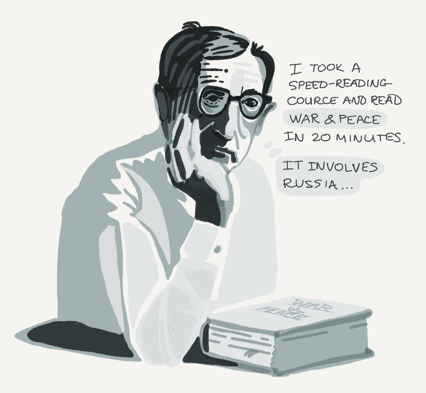 Woody Allen's experience with speed-reading is a loss of comprehension.