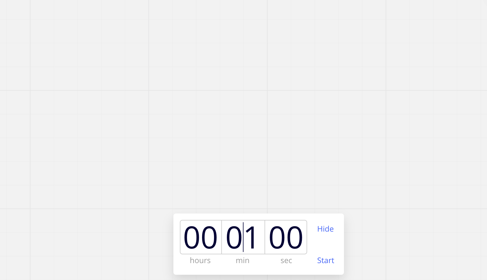 screenshot of setting up the timer