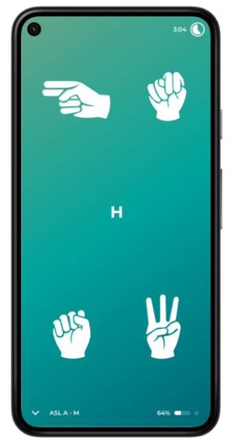 Phone with hands doing sign language