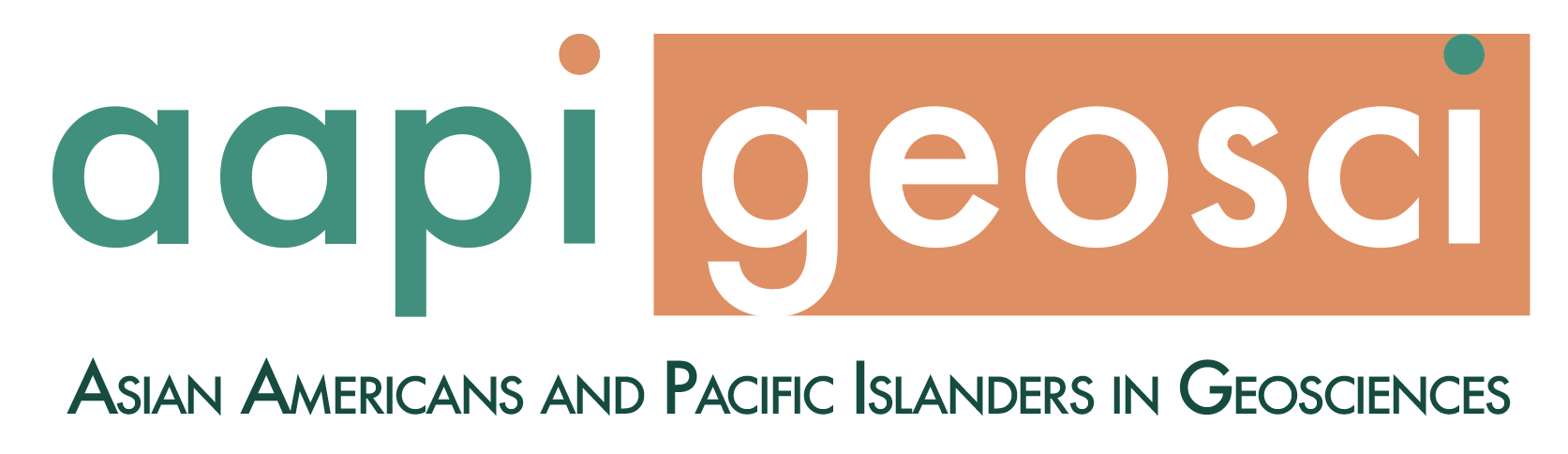 The AAPI in Geosci logo, which uses teal and brown colors.