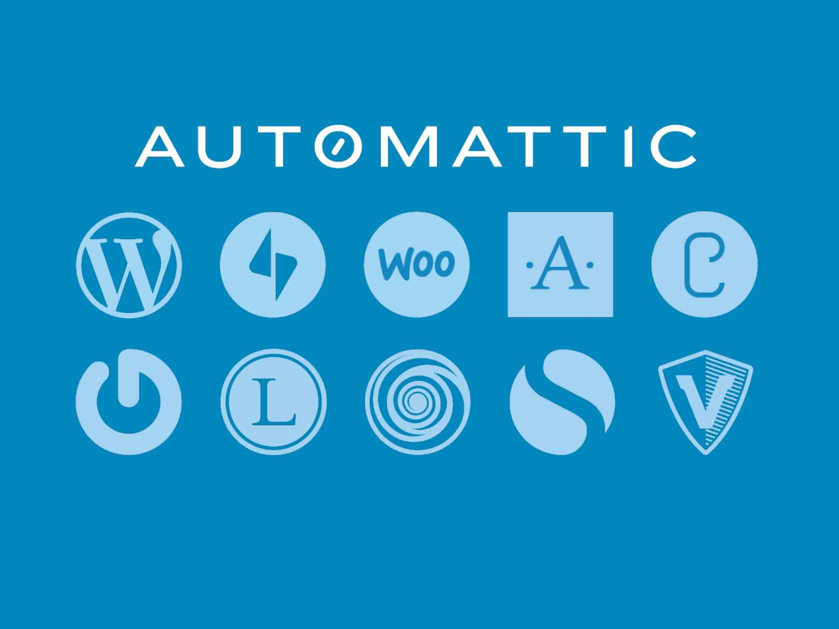 Blue image with words 'Automattic' and ten logos of the platforms they built.