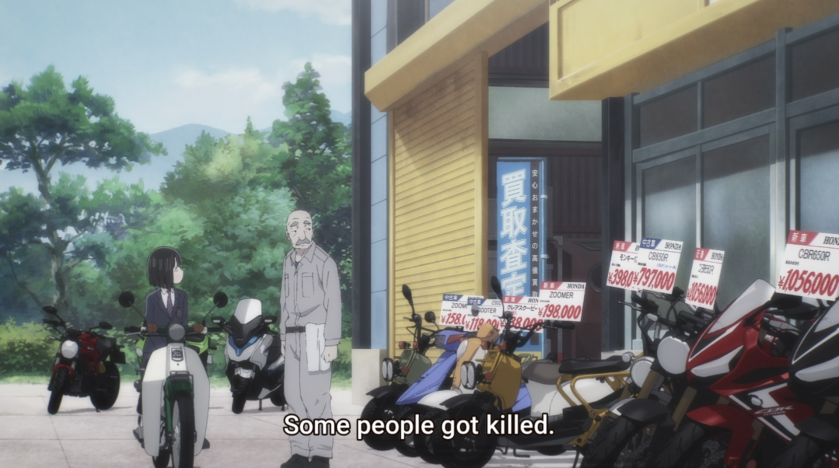 """Koguma is told that """"Some people got killed"""" due to the Super Cub."""