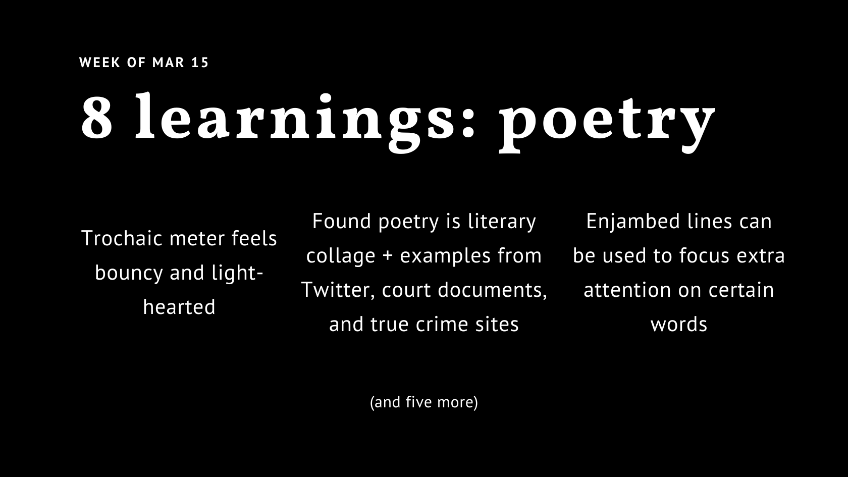 Trochaic Meter Feels Bouncy 8 Things I Learned About Poetry By Minna Wang Medium And why you should care. trochaic meter feels bouncy 8 things i