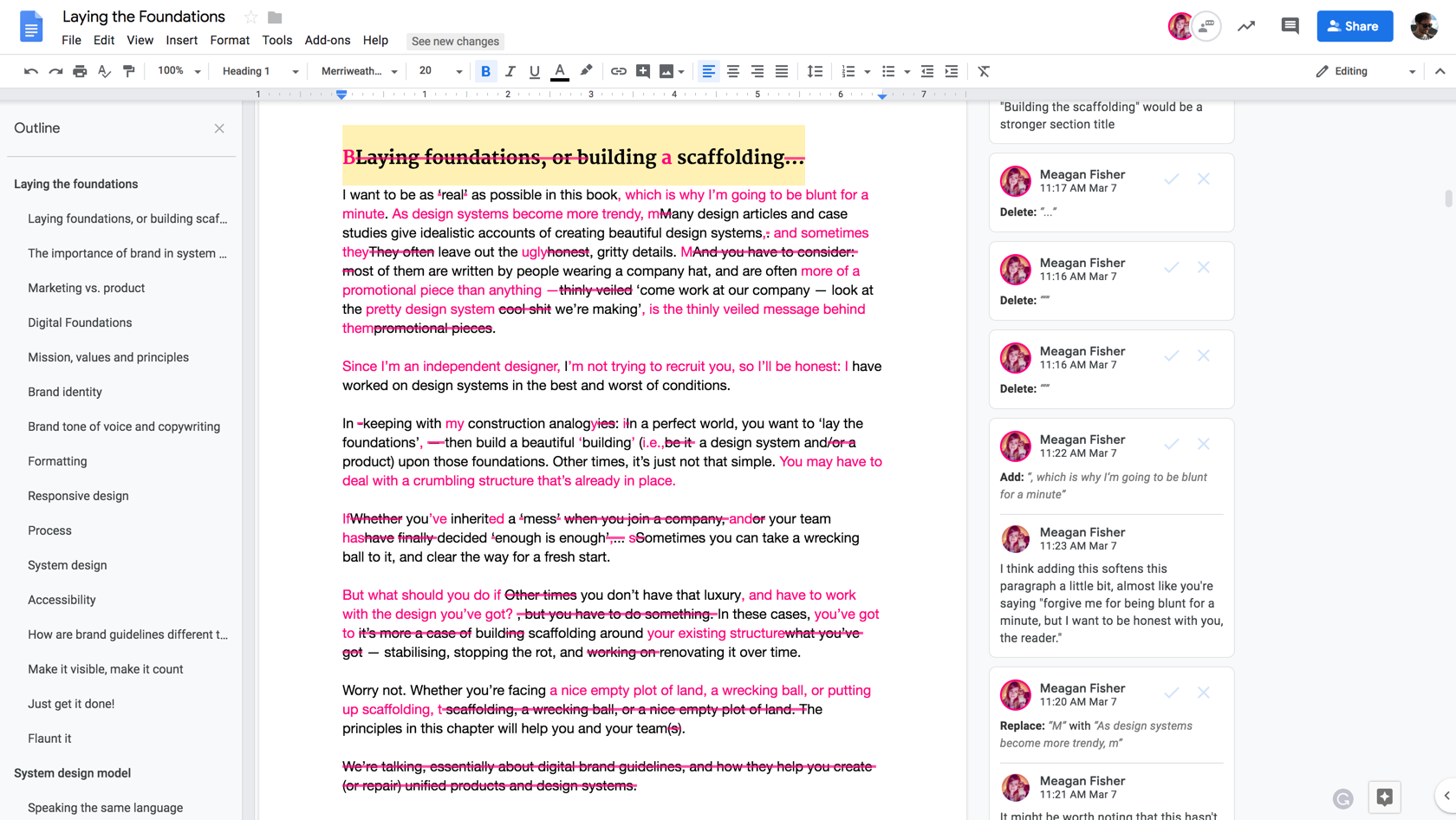 A screengrab of a Google Doc web page showing multiple edits to a large body of text
