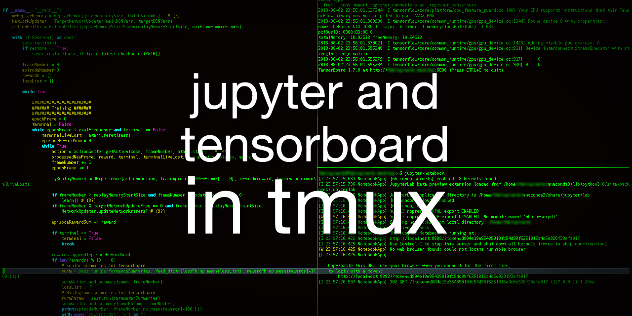 Jupyter and tensorboard in tmux and ssh - Towards Data Science