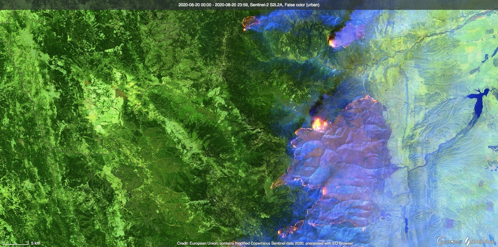 Wildfires in California captured by Sentinel-2, August 20, 2020