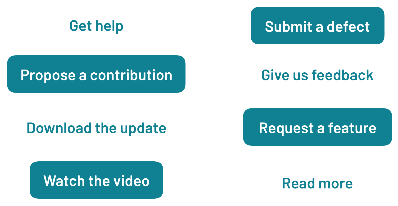 Sample calls to action, such as Get Help or Request a Feature