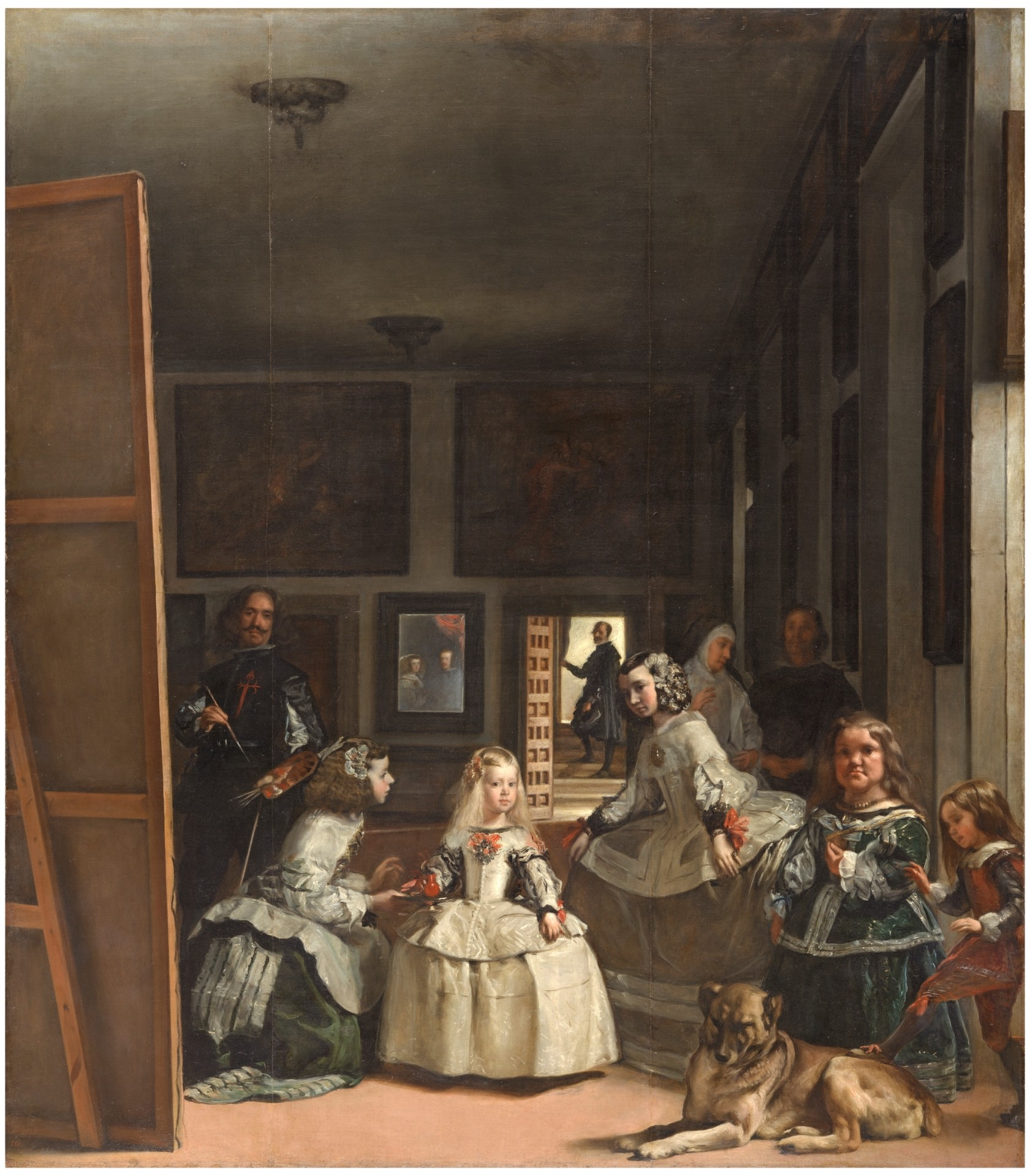 Las Meninas, painting by Diego Velazquez. La Infanta of Spain is being dressed by her companions.