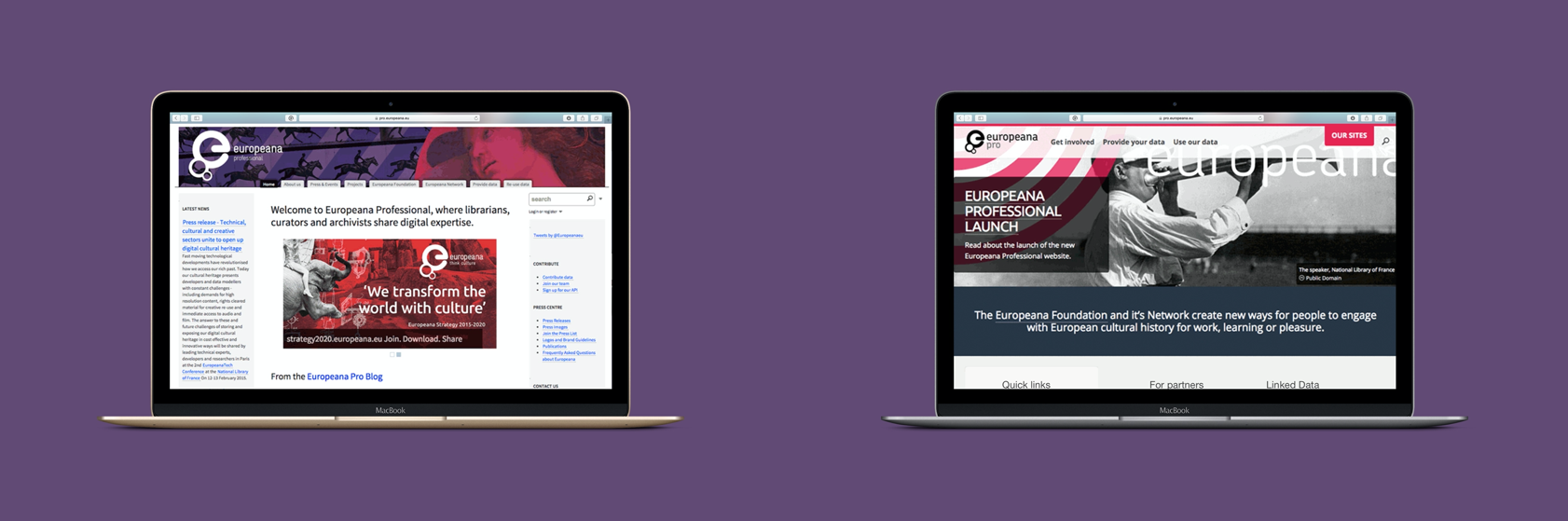 A comparison screenshot, showing the Europeana Professional website before and after the redesign.