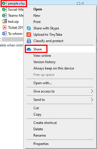 OneDrive Sharing a File button
