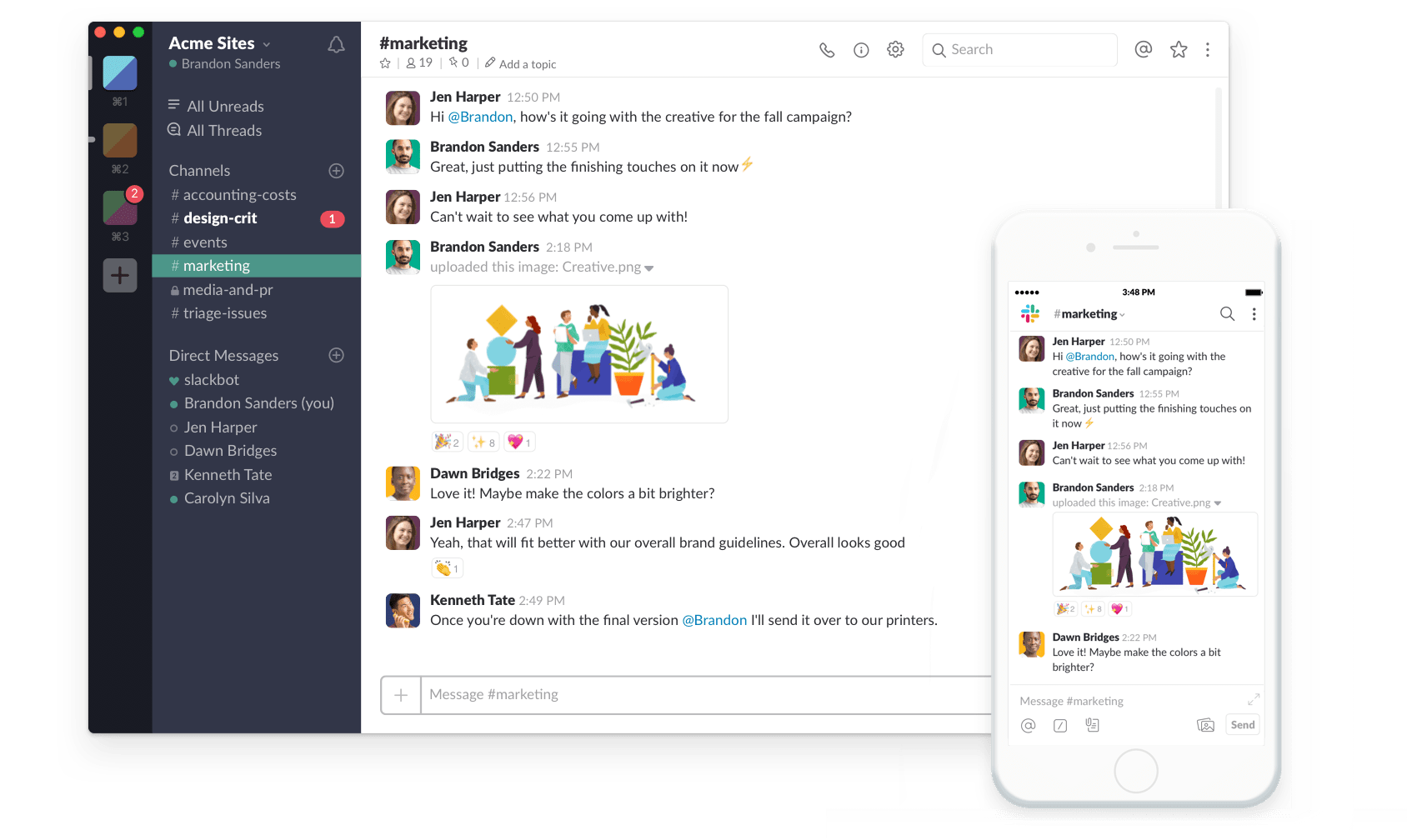 An image of Slack, an alternative to Telegram.
