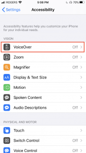Accessibility menu screen on iOS, including the option to turn on VoiceOver