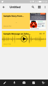 Screenshot of Android App for Zoho Notebook- Blog of Author Amar Vyas