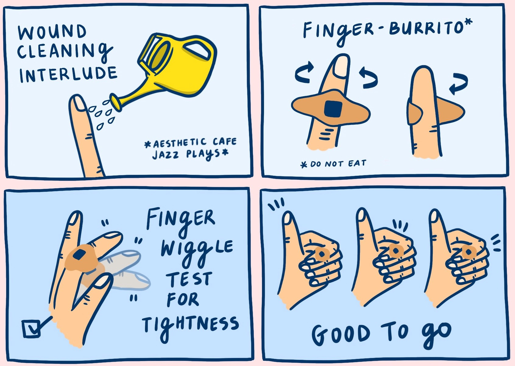 A comic strip outlining the user journey of a person who needs a knuckle bandaid.
