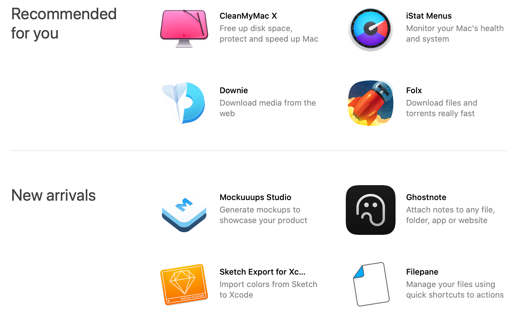 Screenshot of Setapp showing recommended and new apps in bundle