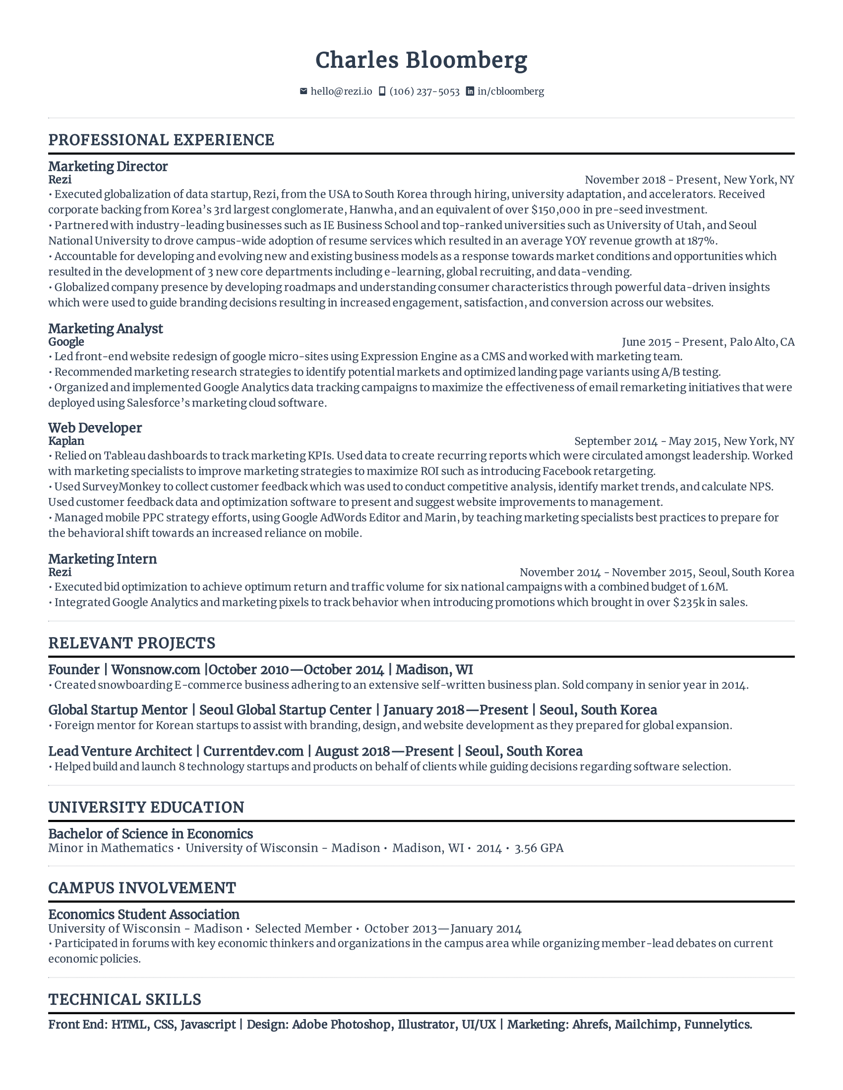The Best Free Resume Template For 2020 By Rezi Rezi Resume