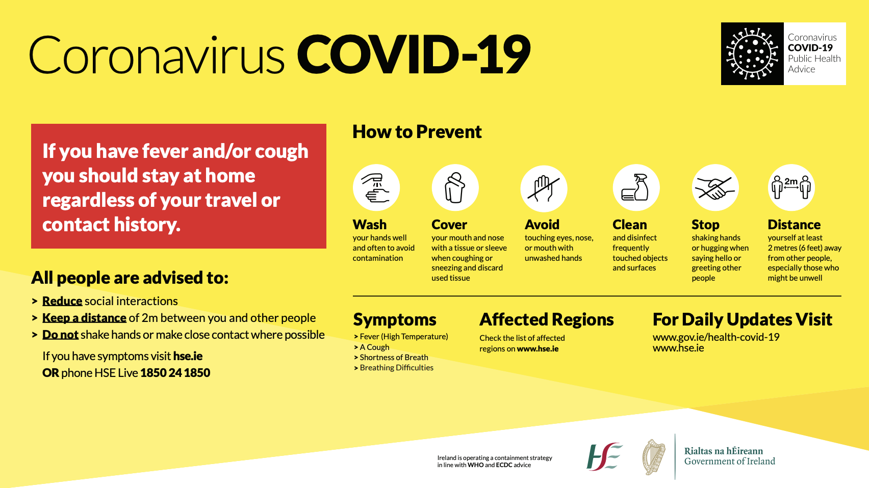 By the HSE: How to prevent spread of COVID-19